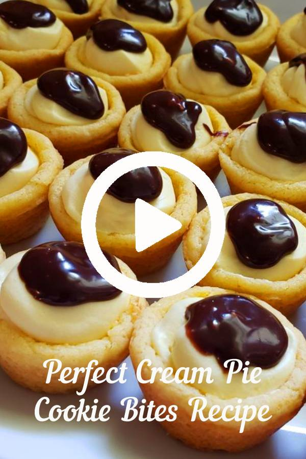 Perfect Cream Pie Cookie Bites - Practically Homemade   All of the awesome flavors you love from the traditional Cream Pie are turned into a cookie bite. They are quick to make, starting with a cake mix and instant pudding. Everyone will go crazy for these little cuties. #cookies #cream #pie #cookiesrecipe #cookiesbites