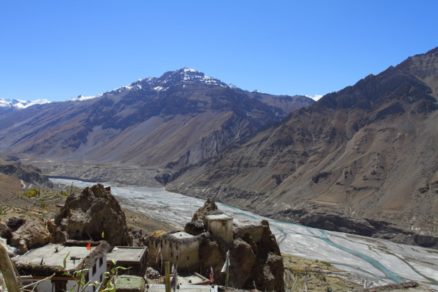 Spiti river view from Asha Homestay, Dhankar