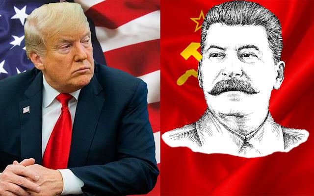 """Дональд Трамп (кана ドナルド・トランプ) и """"Призрак Коммунизма"""", в лице Иосифа Сталина (кана ヨシフ・スターリン), внимательно смотрят друг на друга, думая кто же из них, по мнению японцев, """"красный демон"""" [фотоколлаж]"""
