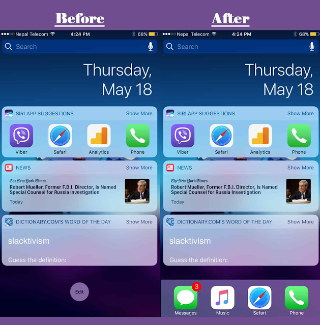 A new free jailbreak tweak called ViewDockOnTodayView by CydiaGeek that lets your iOS HomeScreen Dock appear on the Today view page along with your Spotlight and widgets.
