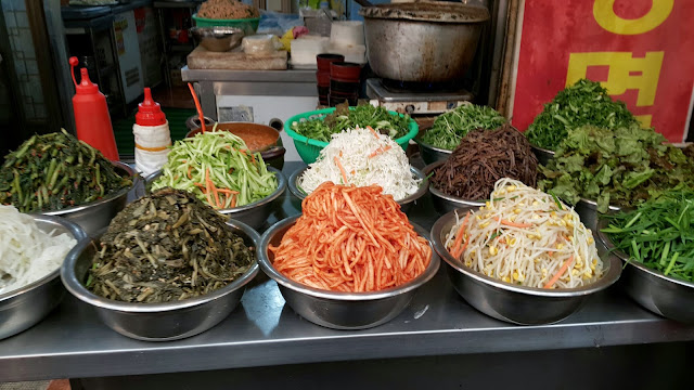 Fresh veggies for Bibimbap  at Gwajang market in Seoul