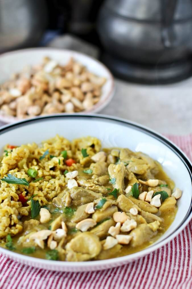 Chicken Curry with Cashews and Basmati Rice Pilaf