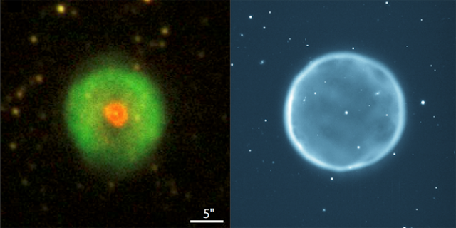 "Planetary nebula HuBi 1 (left) and another planetary nebula Abell39 (right, 6800 light years away from our solar system). Abell39 is an archetypal, textbook case of a spherical nebula surrounding a bright central star (a white dwarf), its nebula composes of hydrogen-rich ionized gas. HuBi 1, its central star has undergone a ""born-again"" event ejecting metal-rich material into the old, hydrogen-rich nebula, has a double-shell structure – a hydrogen-rich outer shell and a nitrogen-rich inner shell. (HuBi 1 image adopted from Guerrero, Fang, Miller Bertolami, et al., 2018, Nature Astronomy, tmp, 112. Image credit for Abell39: The 3.5m WIYN Telescope, National Optical Astronomical Observatory, NSF. URL: https://www.noao.edu)"