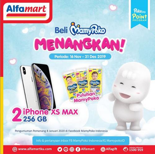 Promo Beli Mamypoko di Alfamart Berhadiah 2 unit iPhone XS MAX 256GB
