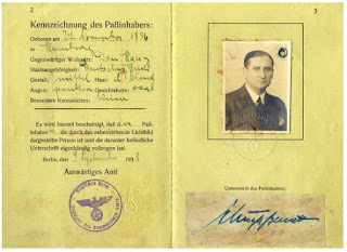 Walter Schulze-Bernett - 1938 passport  (from Passport-Collector site - used with permission)