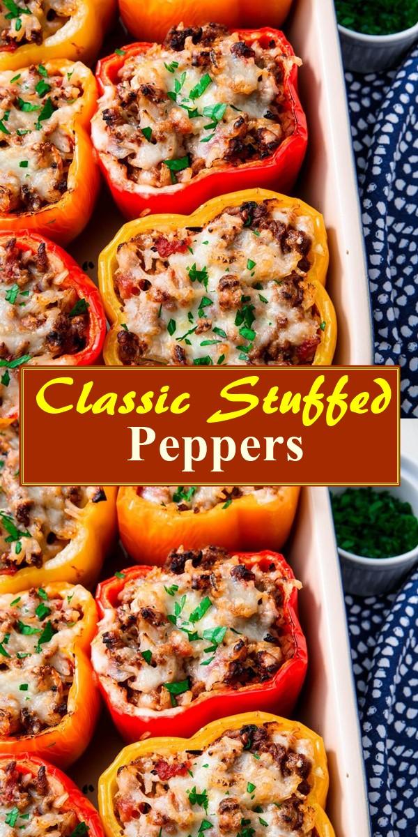 Classic Stuffed Peppers #dinnerrecipes