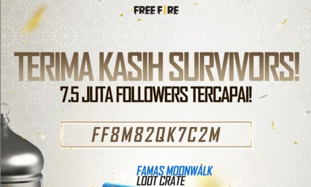 Kode redeem FF terbaru dari akun IG Garena Free Fire Indonesia atas tercapainya 7,5 juta followers