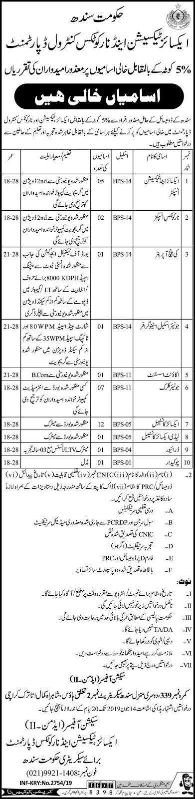 Excise Taxation & Narcotics Control Department Sindh Jobs 2019