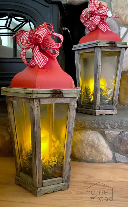 Red Christmas Lanterns with Candles