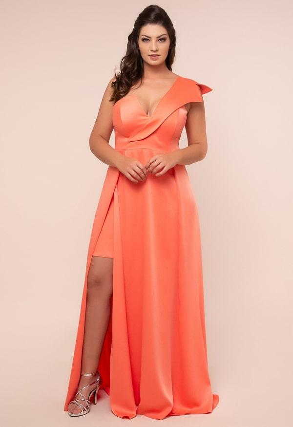 vestido de festa longo plus size laranja