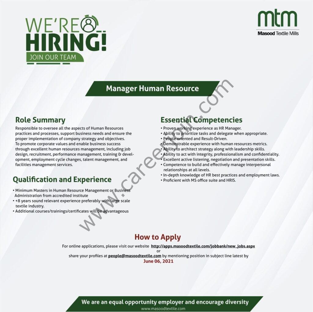 Masood Textile Mills Ltd Jobs 2021 in Pakistan