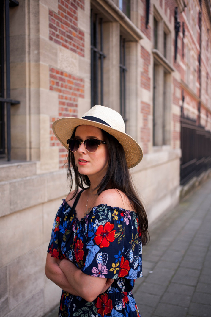Outfit: panama hat, floral off shoulder dress