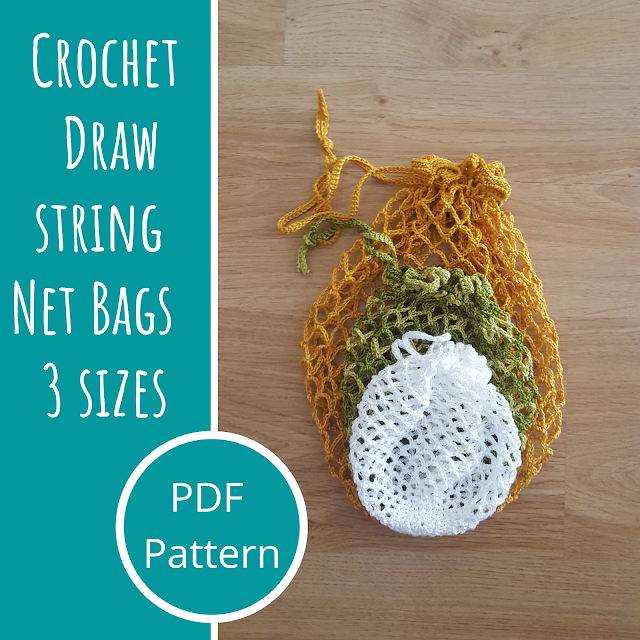 Crochet drawstring net bags