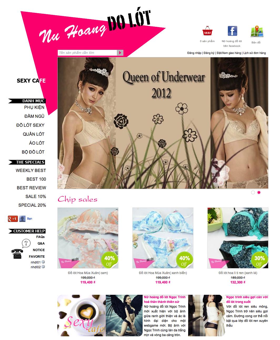 thiết kế web bán đồ lót