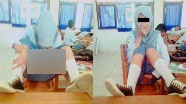 Foto Pelajar ABG Berjilbab Ini Bikin Heboh Netizen, Apa Yang Dilakukannya Bikin Kaget