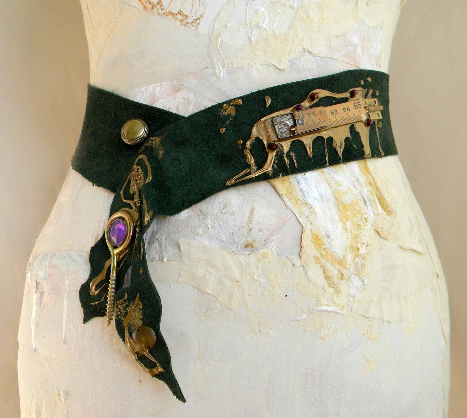 Unique Handmade Waist Belt Sash Leather Fashion Steampunk Original Handcrafted