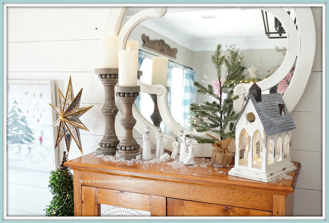 Cottage -Farmhouse- Christmas- Foyer-Manger-Vignette-French-Country--From My Front Porch To Yours
