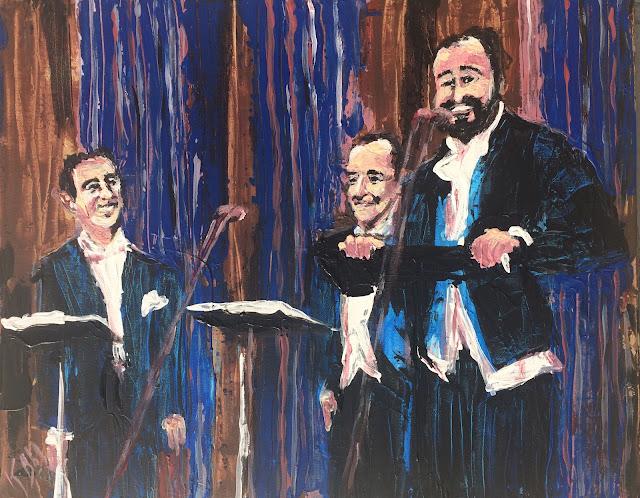 Les ténors Domingo, Carreras, Pavarotti peints par Karine Babel