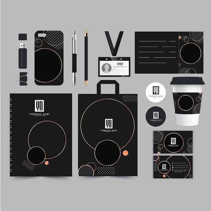 Corporate brand identity sets elegant dark texts decor Free vector