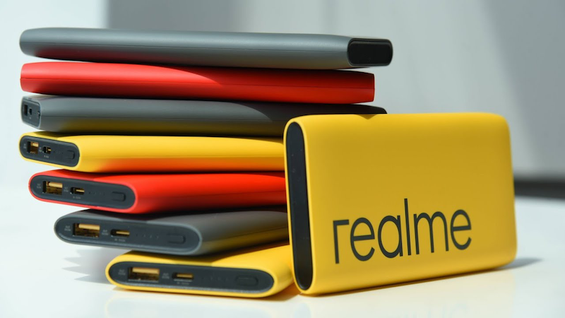Realme power banks to come in colors of black, scarlet, and yellow