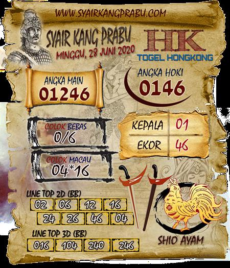 Syair Kang Prabu HK Minggu 28 Juni 2020