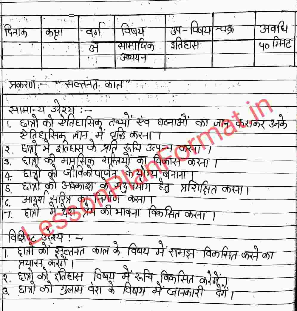 Lesson Plan of History in Hindi