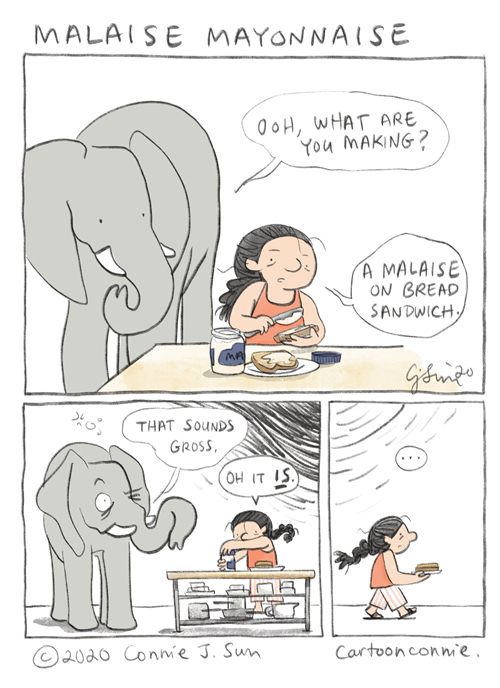 elephant cartoon, humor, illustration, sketchbook, comics by connie sun, cartoonconnie