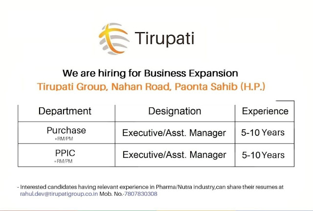Job opening at Tirupati medicare for Purchase / PPIC apply now r