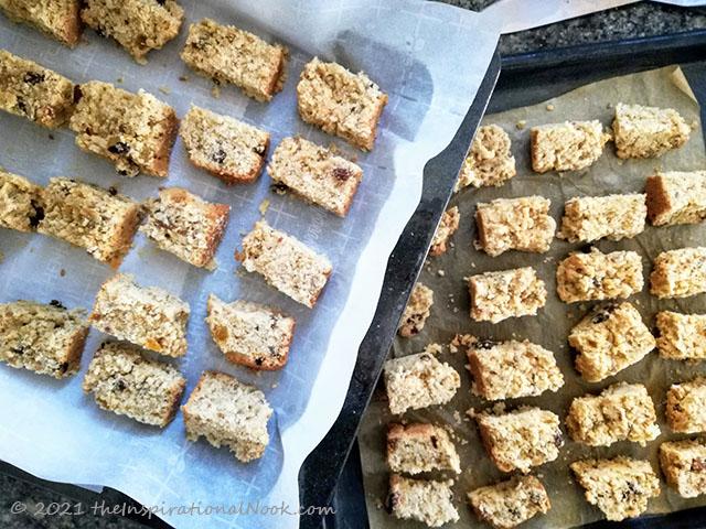 South African buttermilk muesli rusk, karringmelk beskuit, beskuit, with nuts, raisins, self-rising flour