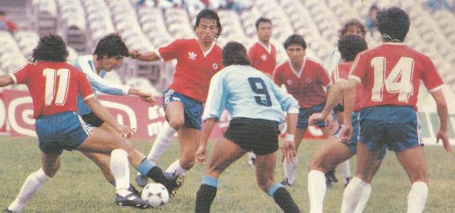 Uruguay y Chile en partido amistoso, 19 de junio de 1989