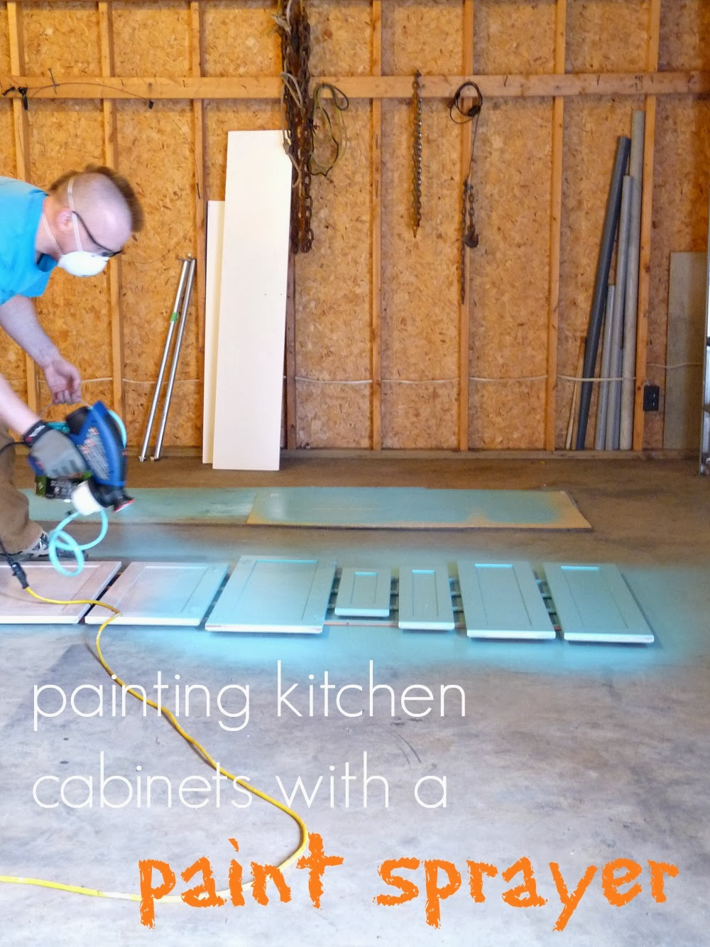 Painting The Kitchen Cabinets With A Paint Sprayer Dans Le