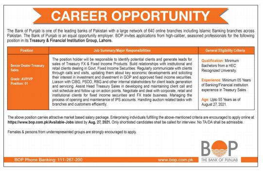 The Bank of Punjab BOP Jobs 2021   Online Apply