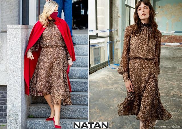 Queen Maxima wore a new leopard print dress from Natan
