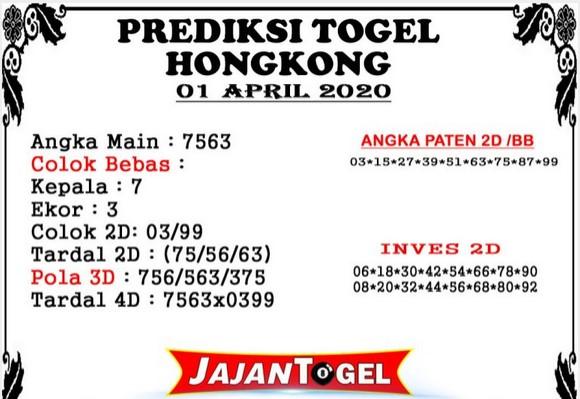 Prediksi Togel Hongkong Rabu 01 April 2020 - Prediksi Jajan Togel