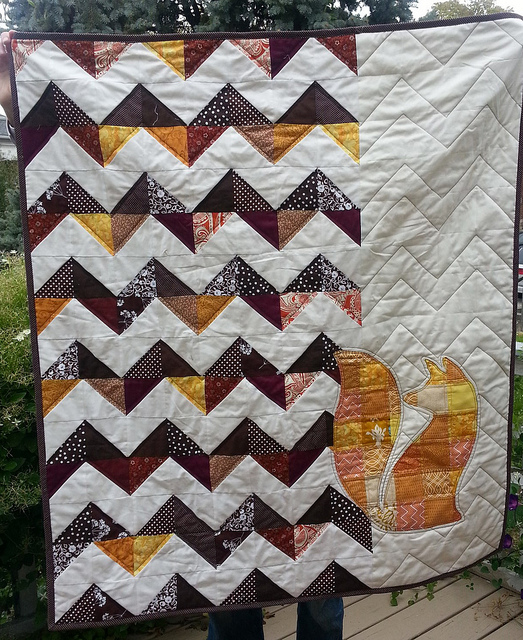 Fox Applique Quilt Free Pattern designed by Dana K of Water Penny