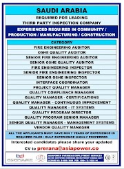 SAUDI JOBS : REQUIRED FOR A LEADING INSPECTION COMPANY IN SAUDI .g