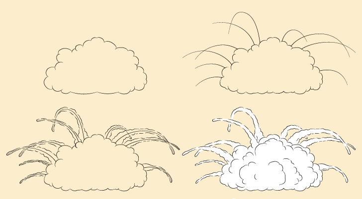 Ledakan dengan puing-puing terbang menggambar selangkah demi selangkah