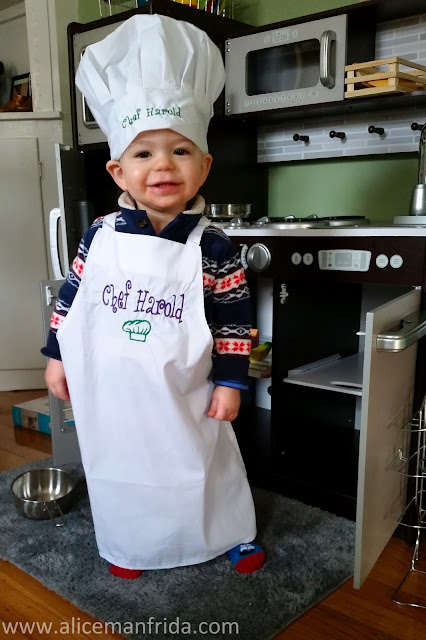 chef harold, play kitchen, chef's hat, apron, toddler