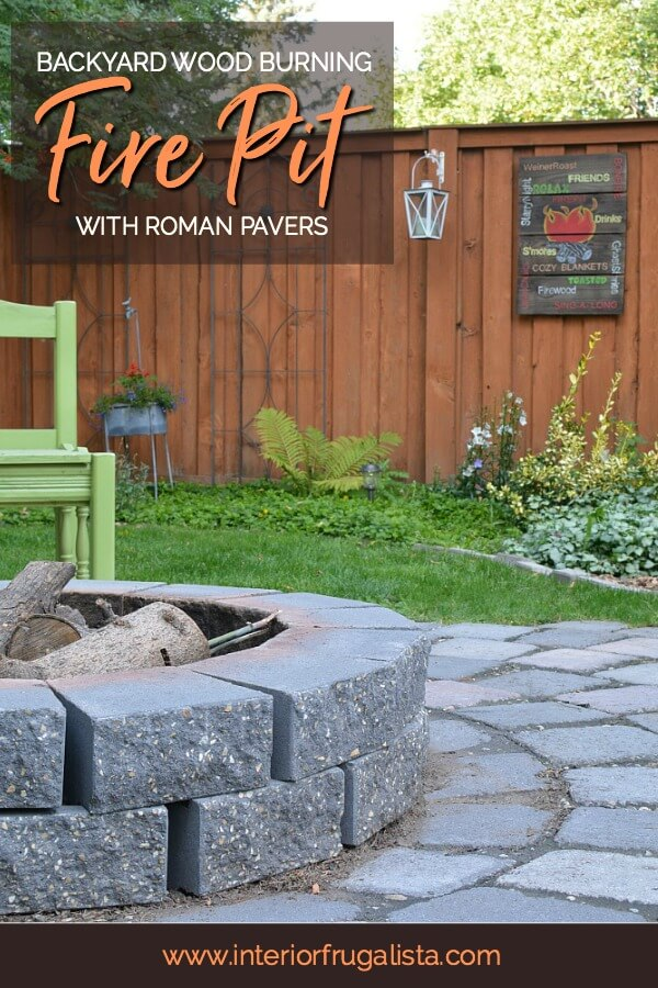 An urban wood burning backyard fire pit refresh encircled with roman pavers that comfortably fits eight to ten chairs for weiner roasts with friends. #firepitideas #firepitdesigns #diyfirepit #backyardlandscaping