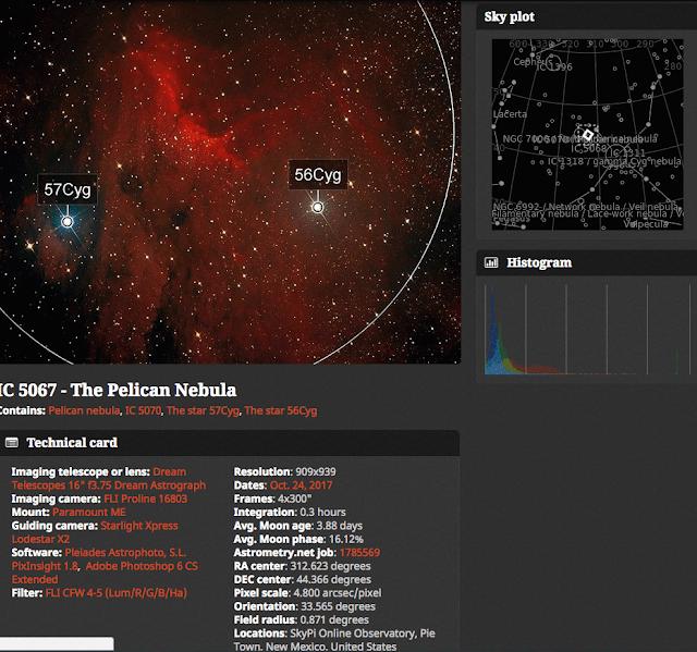 Screenshot of IC 5067 - The Pelican Nebula Imaged on the ATEO on Astrobin.com