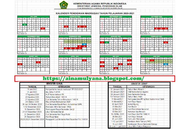 Kalender Pendidikan RA MI MTS MA (Madrasah ) Tahun Pelajaran 2020/2021
