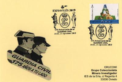 Tarjeta con el matasellos del 175 aniversario de la Guardia Civil
