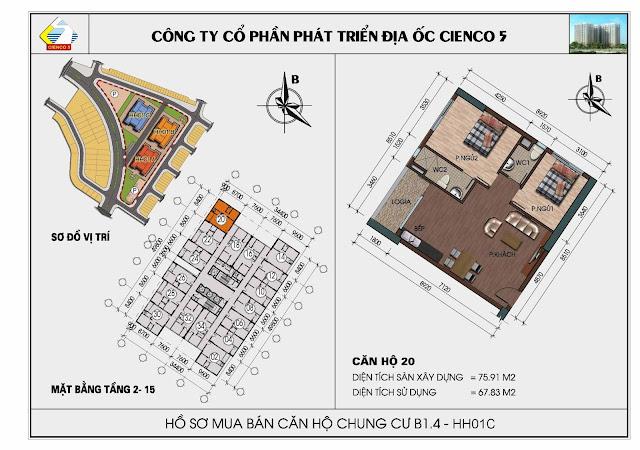 Sơ đồ căn hộ 20 chung cư Thanh Hà Cienco 5 tòa HH01C căn 20
