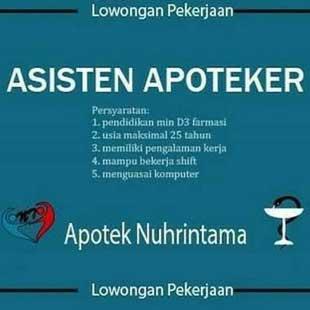 Lowongan Kerja Asisten Apoteker di Apotek Nuhrintama