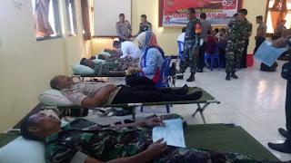 Hut 73 Bhayangkara,  Kodim Bima Ikut Partisipasi Donor Darah Wujud Sinergitas