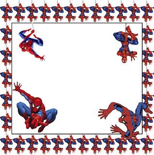 Para hacer invitaciones, tarjetas, marcos de fotos o etiquetas, para imprimir gratis de  Spiderman.