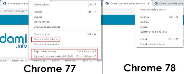 Chrome menu contestuale delle schede a confronto nella versione Chrome 77 e 78
