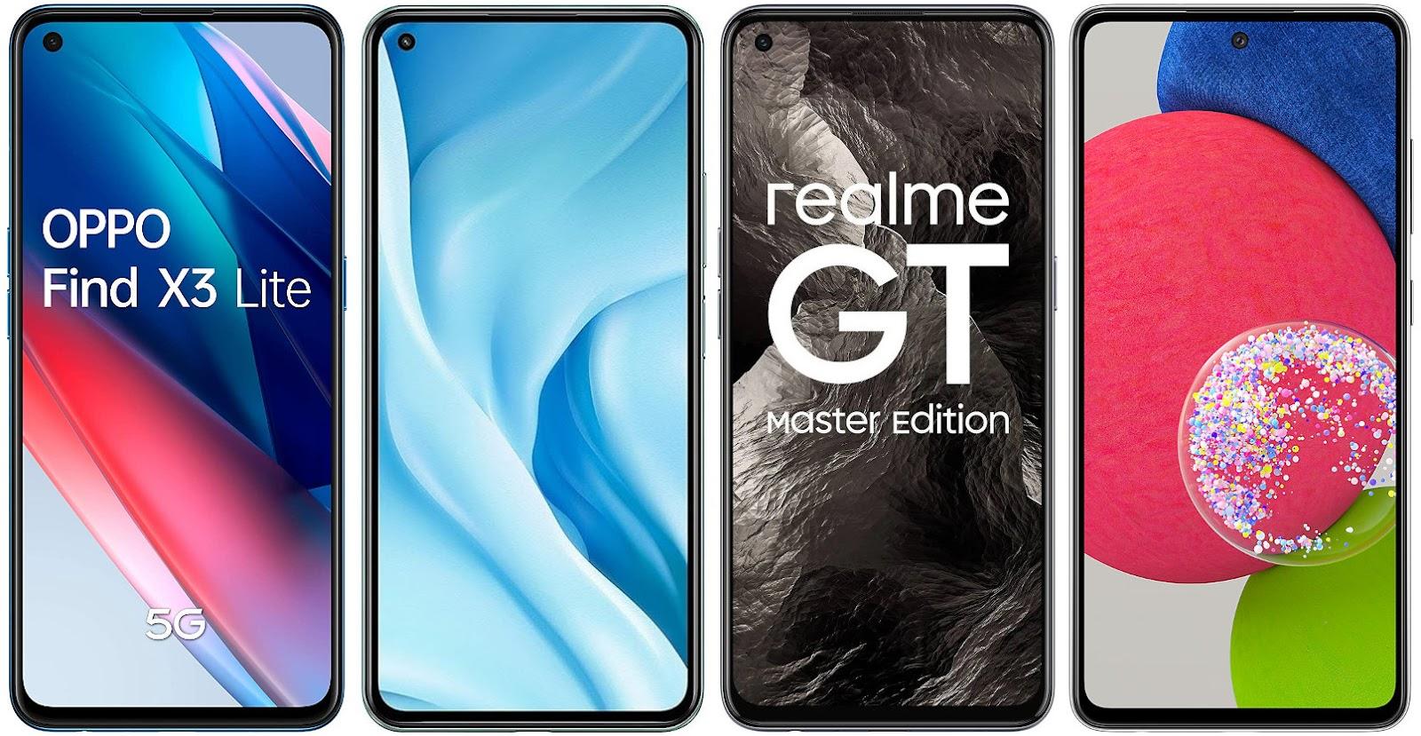 Oppo Find X3 Lite vs Xiaomi Mi 11 Lite 5G vs Realme GT Master Edition vs Samsung Galaxy A52s