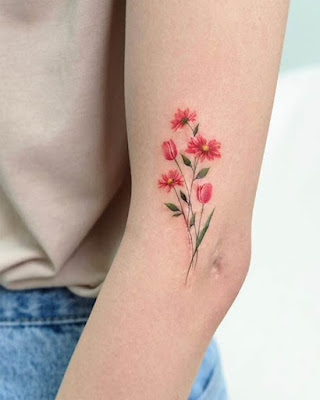 The elbow is a good place for a flower