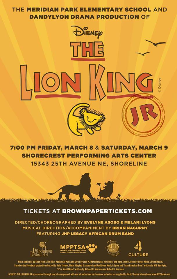 Shoreline Area News Meridian Park Elementary Drama Club Performs Lion King Jr Mar 8 9